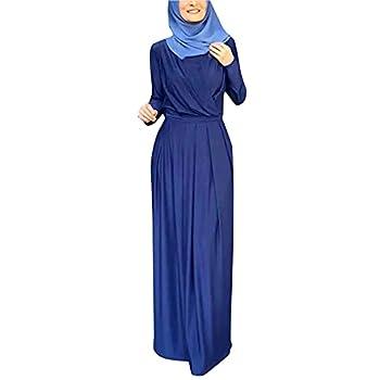 VEKDONE Women Long Sleeve Flowy Empire Waist Fall Winter Party Islamic Gown Chiffon Kaftan Abaya Dress Muslim Tie Maxi Dress Blue