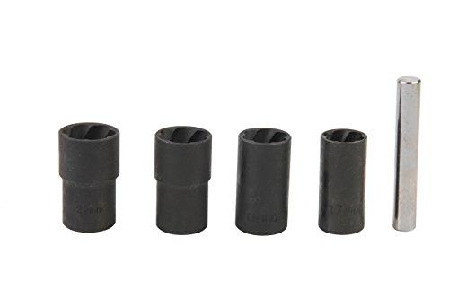 KIMISS Carbon Steel 5Pcs Twist Socket Set Locking Wheel Nut Bolt Stud Extractor Removers 17mm 19mm 21mm 22mm Socket
