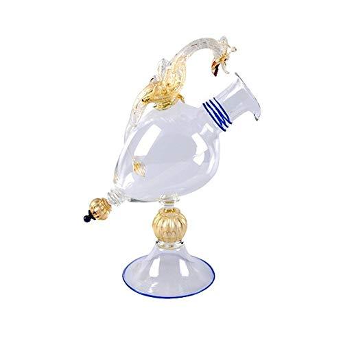 YourMurano Calice Decorativo in Vetro di Murano, Bianco, Decorato con Drago, Dettagli in Foglia d'oro, Vetro Soffiato, 100% Garantito dal Marchio di Origine, Viverna