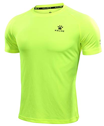KELME Running Fitness Athletic T-Shirt Reflective Quick Dry (Neon Yellow, Small, s)