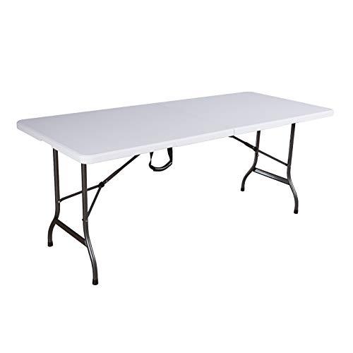 SVITA Buffettisch Tisch klappbar Campingtisch Gartentisch Partytisch Esstisch Klapptisch Bierzelttisch Trageriff 180 cm weiß