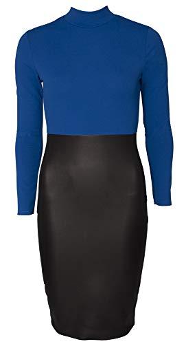 RE TECH UK - Damesjurk - midi-lengte/nauwsluitend - met leren rok van kunstleer/bovenstuk met lange mouwen en hoge kraag