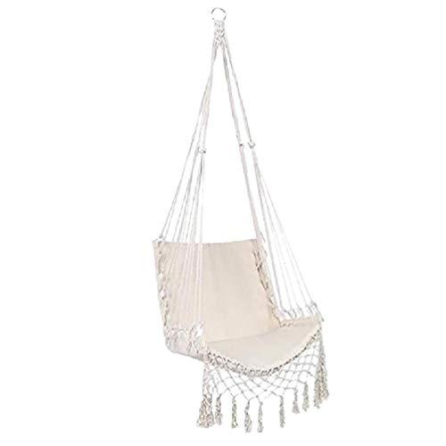 Silla hamaca Columpio de macramé Colgante de cuerda de algodón Silla colgante de hamaca para interior para