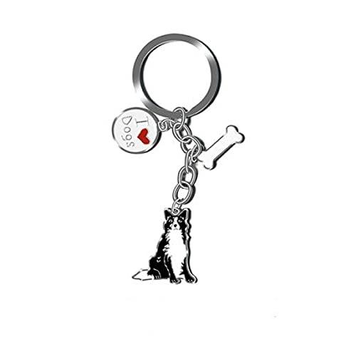 Dibujos animados lado pastor perro creativo coche llavero pareja mochila teléfono móvil llavero colgante regalo
