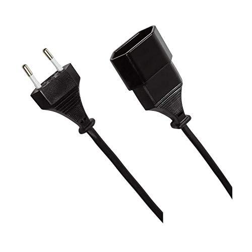 odedo 1m Euro Verlängerungskabel Netzkabel Kabelverlängerung Stromkabel Verlängerung CEE 7/16 Stecker zu Buchse 1 Meter, Power Extension Cable