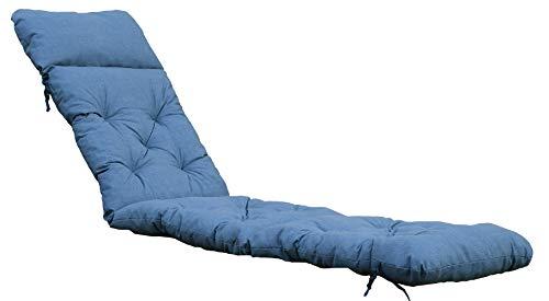 Ambientehome Deckchair Sitzkissen Sitzpolster Auflage für Liege, 195x49 cm blau/grau