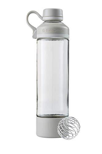 BlenderBottle Mantra Glass Shaker Bottle, 20-Ounce, Pebble Grey