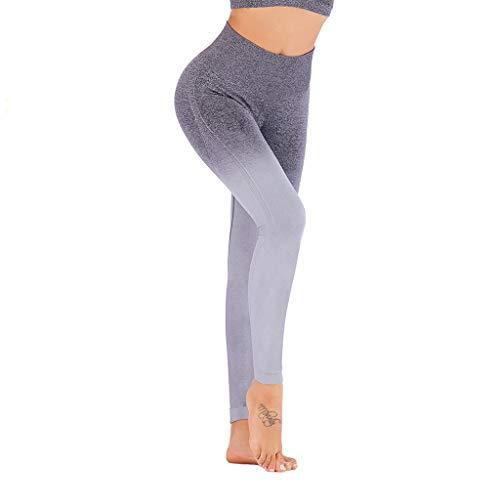WOZOW Damen Leggings Gamaschen Farbverlauf Zweifarbig Print Druck Dünn Skinny Stretch Sport Hose Yoga Stoffhose High Waist Fitness Jogginghose Workout Trousers (XL,Grau)