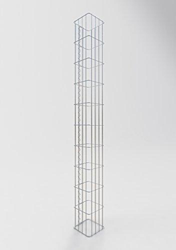 GABIONA Säule Steinkorb-Gabione eckig, Maschenweite 5 x 20 cm, Höhe 200 cm, Spiralverschluss, galvanisch verzinkt (22 x 22 cm)