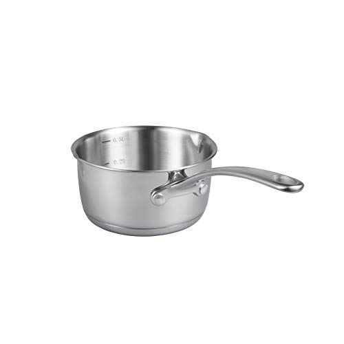 IMEEA (17oz/500ml) Heavy Duty 18/10 Tri-Ply Stainless Steel Butter Warmer Pan with Dual Pour Spouts (0.5-Quart)