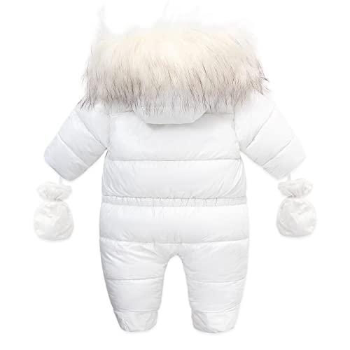 (6 – 24 meses), unisex, para niños, con capucha, cuello de piel, guantes gruesos, cálidos, cubrepies, mono, cortavientos, chaqueta de plumón, chaqueta de invierno