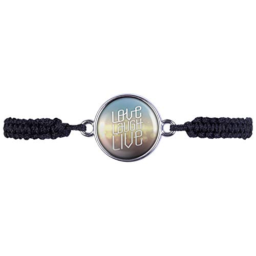 Mylery Bracelet with motivation saying Love Laugh Live blue gold silver or bronze 16 mm silver