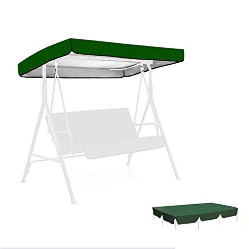 KINGEE 2-3-Sitzer Dachbezug Gartenschaukel, Ersatzdach Für Hollywoodschaukel Wasserdicht Windicht Schneeschutz Anti-UV 210D Oxford Ersatz-Sonnendach Für Garten Hollywoodschaukel, 191×120×23Cm, Grün