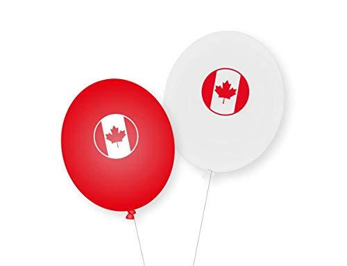 8 Luftballons * Kanada * als Deko für Mottoparty, Länderparty und Geburtstag | Ballons Party Set Amerika