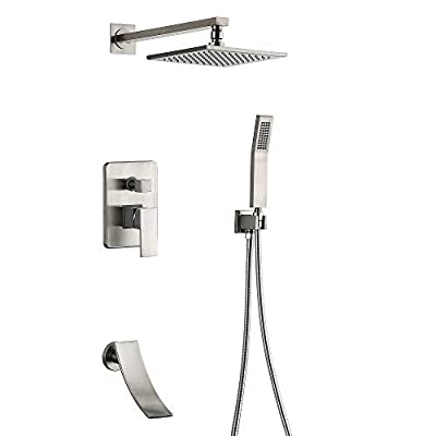 Shower System Brushed Nickel Wall Mount Shower Fixtures with Tub Faucet Spout 8 inch Rain Shower Head and Handheld shower head (Brushed Nickel shower faucet)