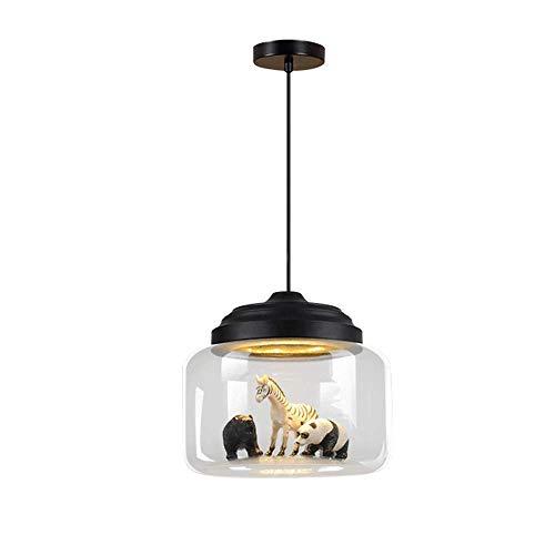 Lámpara colgante de luz LED de vidrio creativo para niños colgante de pantalla de luz de techo de vidrio suspensión de iluminación de cómics techo de araña para niños en niñas negro