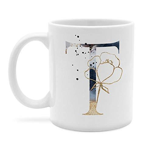 printplanet - Tasse mit Buchstabe: T - Kaffeebecher, Mug, Becher, Kaffeetasse, Beidseitiger Druck - Farbe Weiß