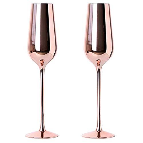 RONGXIANMA Copa de Vino 4 Piezas Copa de Vino de Oro Rosa Copa de champán Copa de pie Tazas para Beber Tazas para el hogar