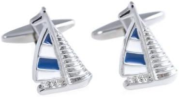 Rhodium Plated Cufflinks w/ Blue & White