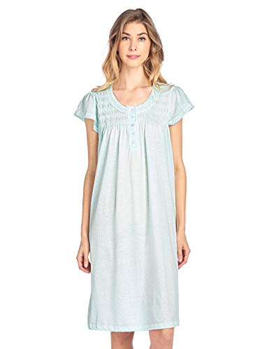 Casual Nights Women's Short Sleeve Smocked And Lace Nightgown - Green - X-Large