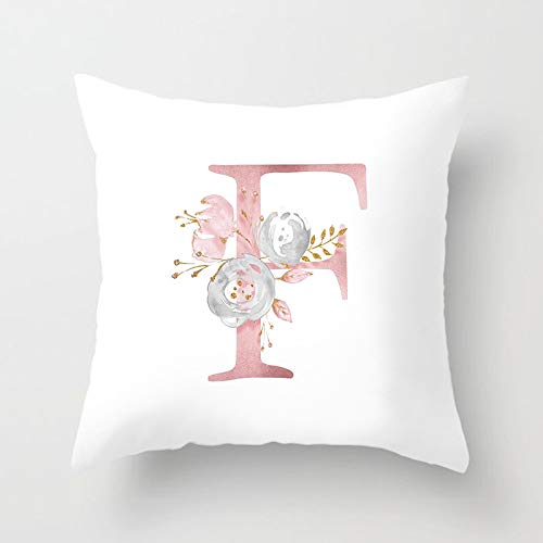 RNXRBB Rose Gold Pink English Letter Cushion Cover Decorative Throw Pillowcase For Couch Car Sofa Home 45cm x 45cm