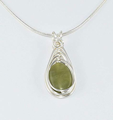 Connemara Marble Necklace for Women includes Silver Chain Celtic Pendant for Women