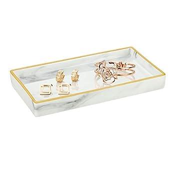 Emibele Ceramic Vanity Tray Marble Decor Tray Bathtub Toilet Tank Bathroom Vanity Organizer Bathroom Tray Jewelry Storage Dresser Tray for Candle,Jewelry,Lotion Bottle,Cosmetics,Perfume Small Size