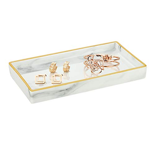 Emibele Bandeja Rectangular Cerámica, 22 x 12 cm Organizador Decorativo de Joyas Cosméticos Perfumes Adornos Soporte con Bordes Dorados para Baño Tocador Escritorio, Mármol Blanco