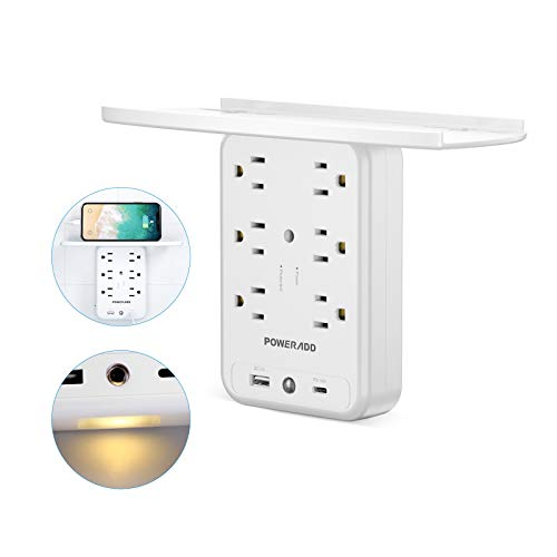 Socket Shelf Wall Outlet, POWERADD 6 Outlet Extender Surge Protector with USB C PD 18W, 1875W 1700J, Multi Plug Outlet with Removable Shelf and Smart Night Light for Bathroom/Home/Dorm