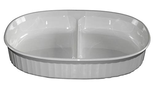 Corning Ware Oval Divided Dish in the French White 1.8 Liter F-6-B