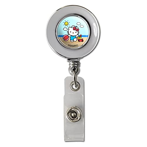 Hello Kitty Day at The Beach Retractable Reel Chrome Badge ID Card Holder Clip
