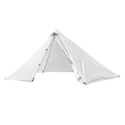 SM SunniMix Trekking Pole Tent Ultralight 1 Person 3 Season Tent, Lightweight Pyramid Tent for Mountaineering Hiking Camping - Gray White