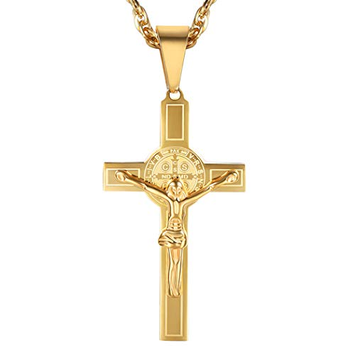 PROSTEEL Men Catholic Jesus Cross Pendant Necklace with Chain 18K Gold Plated