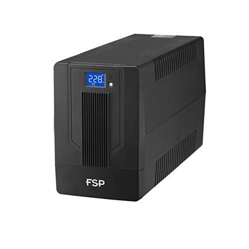 FSP IFP 2000 Line-Interactive USV 2000VA 1200W, 2X Schuko, 2X IEC, LCD Touchscreen, Entrada de Voltaje 162-290 Vac, 60 50 Hz (Auto Sensing), Simulierte Sinuskurve, Kaltstartfunktion
