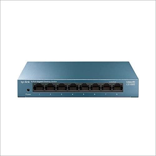 TP-Link LS108G - Switch 8 Puertos (10/100/1000) Switch Ethernet Gigabit, Carcasa metálica, Ultraligero con Super disipación...