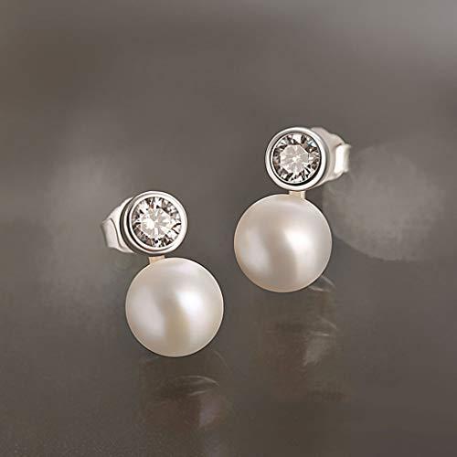 OMYLFQ Pendientes Pendientes de Perlas cultivadas de Agua Dulce Damas 925 cúbico Simple Zirconia Pendientes de 8mm Redonda White Girl joyería aretes