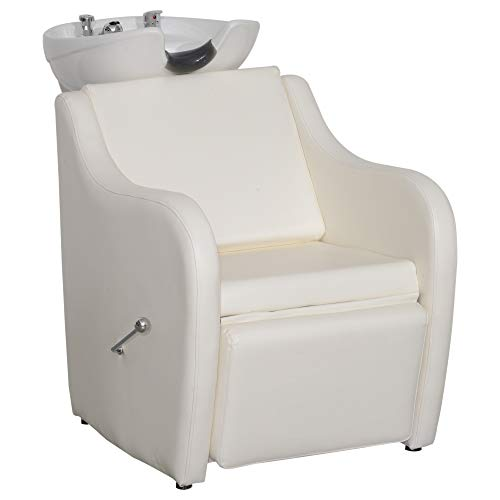 BarberPub Backwash Ceramic Shampoo Bowl Sink Chair Station Spa Salon Beauty Bowls 9089 (Off White)