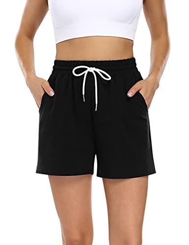 KOJOOIN Pantalones cortos para mujer, pantalones cortos de deporte, de algodón, holgados, con bolsillos y rayas, para jogging, yoga, fitness, tiempo libre (embalaje múltiple) A-negro. XL