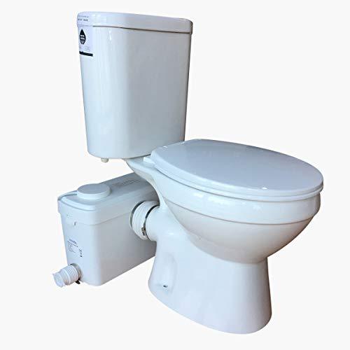 Sanimove 600W Macerator Pump Toilet Three Piece Round Bowl Toilet with Macerating Pump Macerating Upflush Toilet Kit Macerating Toilet