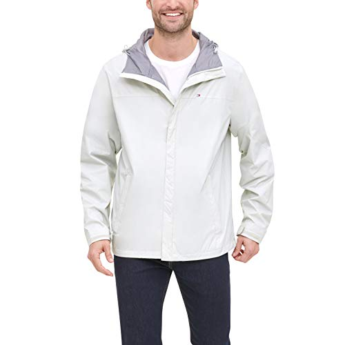 Mens Lightweight Breathable Waterproof Hooded Windbreaker Icing White Jacket