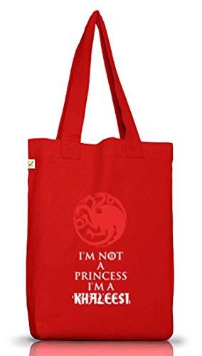 Serien Jutebeutel Stoffbeutel Earth Positive mit I'm Not A Princess I'm A Khaleesi Motiv, Größe: onesize,Red