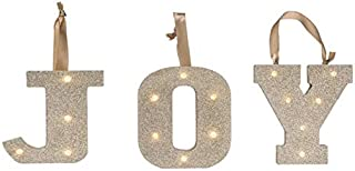 Gold Glitter Joy Light UP Letters LED Marquee Wooden Alphabet Lights for Festival Decorative Christmas, Party, Wedding (Wall or Table Top) Monogram Initial (Joy)