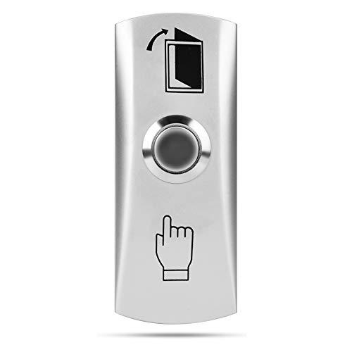 Botón de puerta plateado, botón de apertura de puerta montado en superficie, para acceso a la puerta
