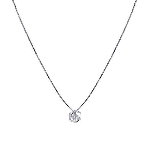 Emorias 1 x Halskette, Diamant, hohl, Legierung, Würfel, Geschenk zum Valentinstag, Schmuck, Zubehör