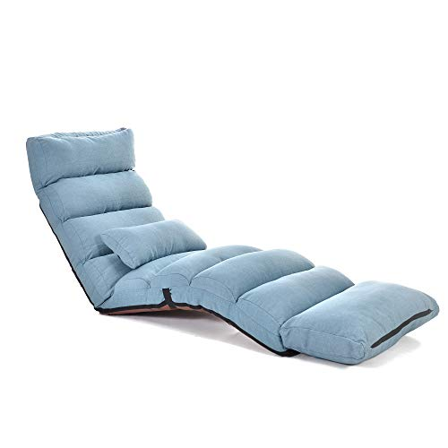 Koreyosh Folding Lazy Sofa Chair Lounge Chair with Pillows and Footrests Floor Lounge Sofa Chair,Blue