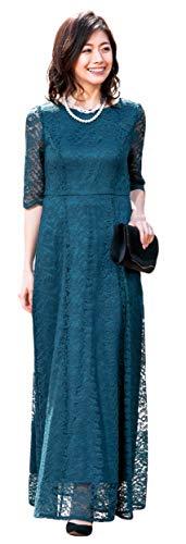 [アールズガウン]ロングドレス 母親 ロング 結婚式 発表会 フォーマル レース 羽織り 大きいサイズ アフタヌーンドレス FD-1952388 (グリーン(ロング), S)