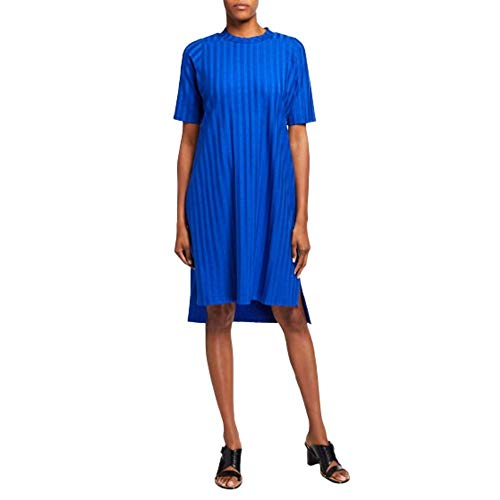 Eileen Fisher Women's Wide-Rib Mock-Neck Elbow-Sleeve Dress Large- Royal Blue