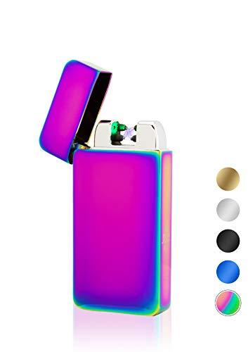 TESLA Lighter TESLA Lighter T10 Lichtbogen-Feuerzeug mit Photosensor, elektronisches USB Feuerzeug, Double-Arc Lighter, wiederaufladbar Regenbogen Regenbogen