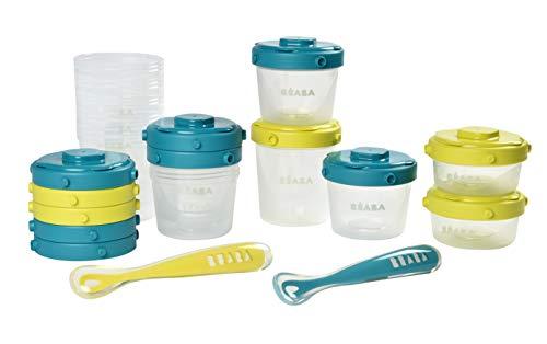 BÉABA Pack Premier Repas, 12 Pots de Conservation + 2 Cuillères Silicone