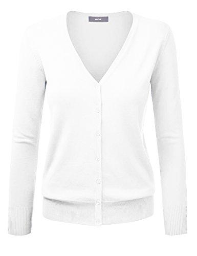 Cardigan Pull Gilet Femme Basic Col V Classique en Laine Mélangé Fine Soft Boutonné,34,Blanc
